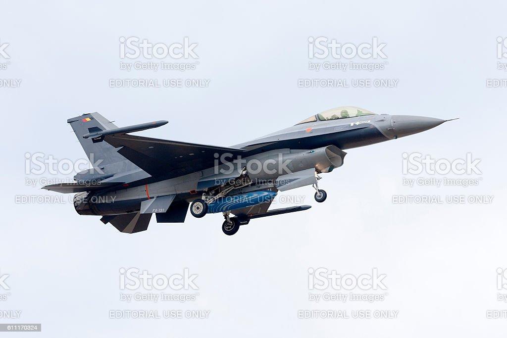 Belgian F-16AM on short finals runway 13, Malta stock photo