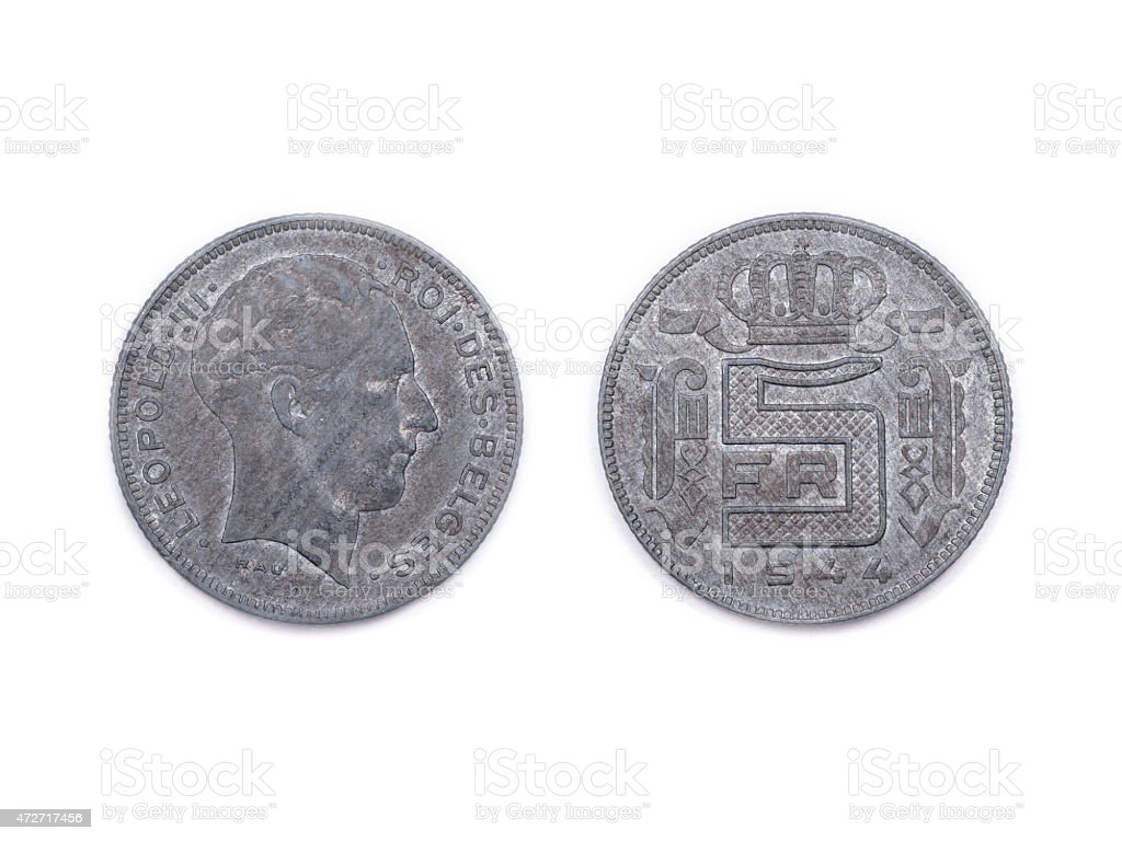 Belgian five Francs coin dated 1944 stock photo