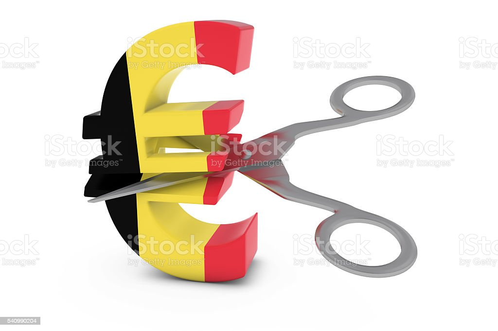 Belgian Flag Euro Symbol Cut in Half with Scissors stock photo