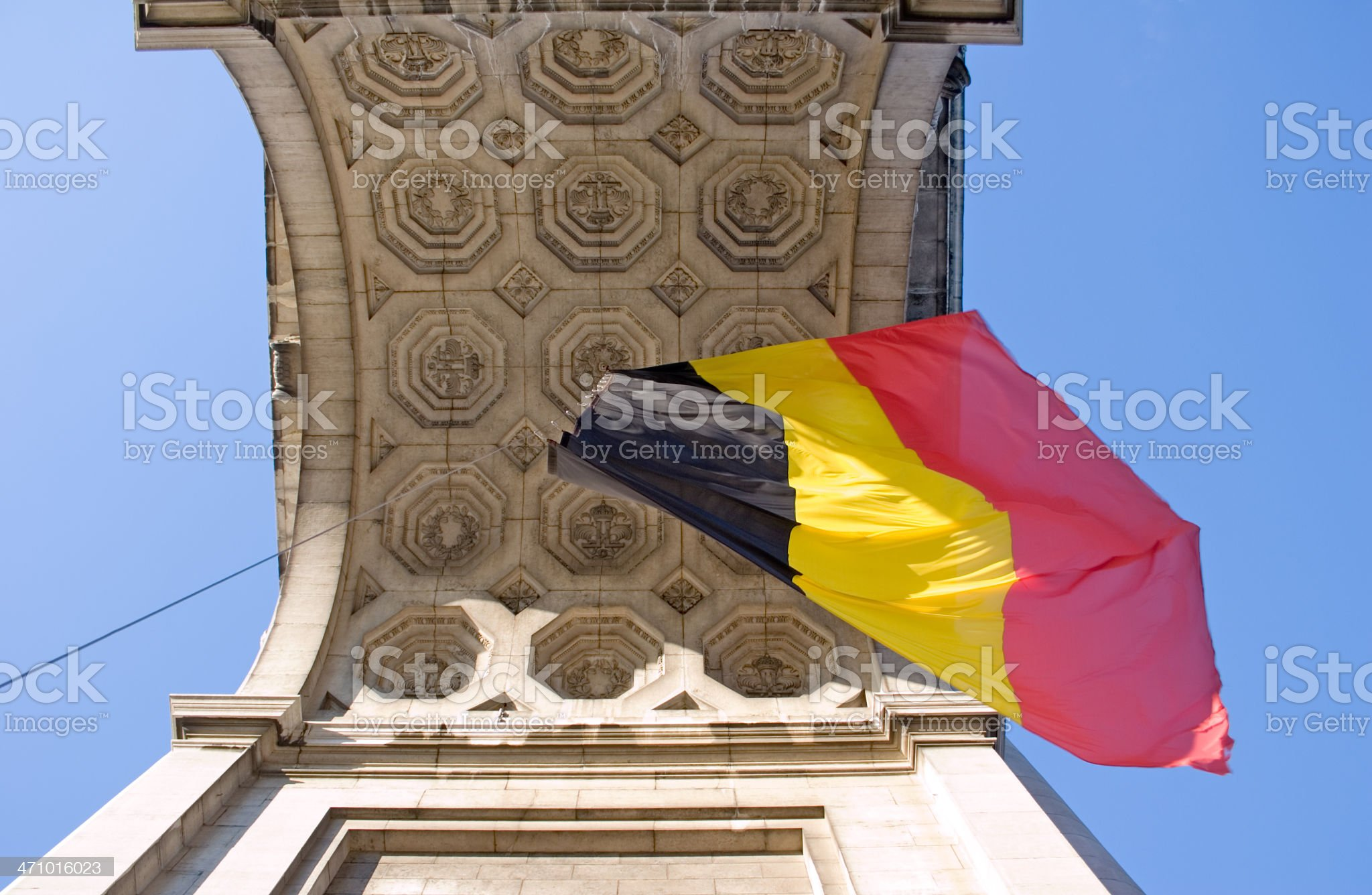 Belgian flag from below royalty-free stock photo