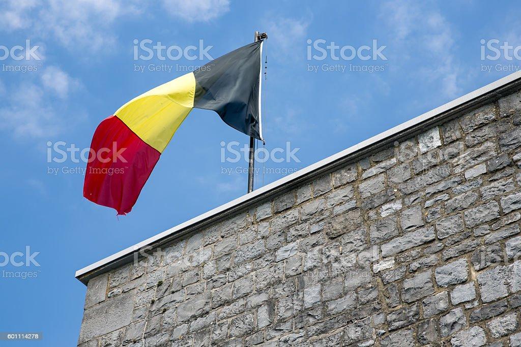 Belgian flag in top of citadel Dinant stock photo