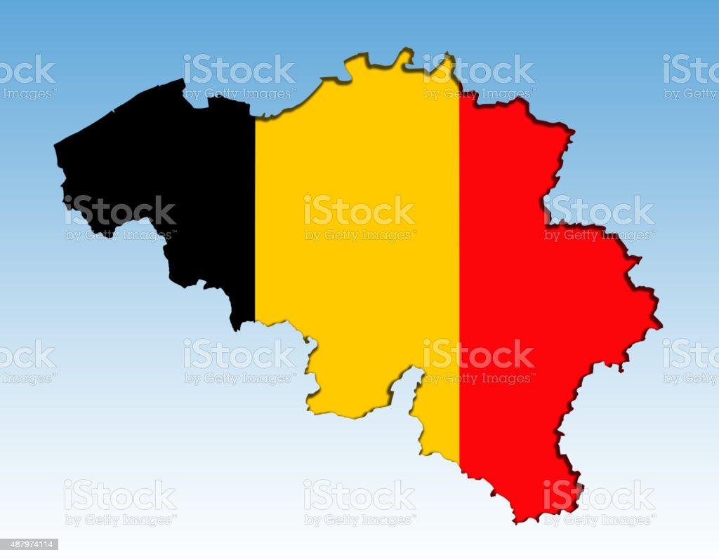 Belgian flag map stock photo