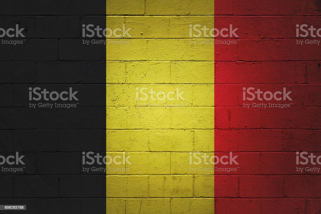 Belgian flag painted on a wall stock photo