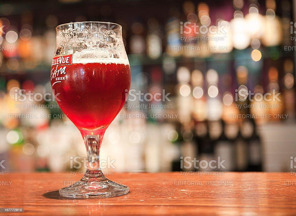 Belgian fruit beer stock photo