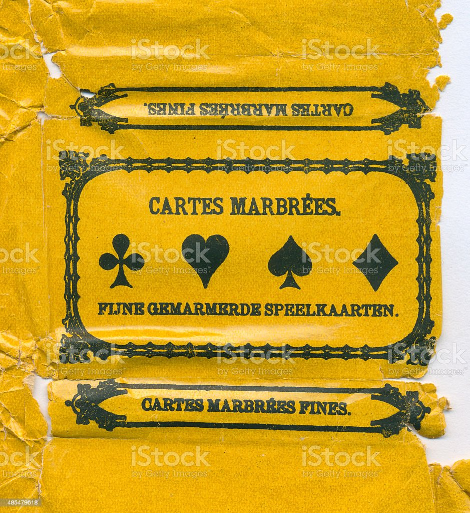 Belgian playing cards cartes marbrees 1885 wrapper stock photo