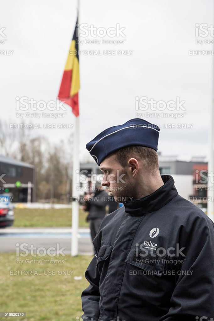Belgian police on duty after terrorism attack stock photo