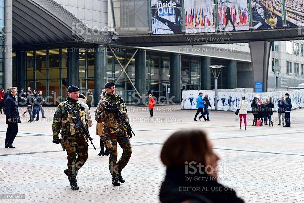 Belgian soldiers guarding European Parliament stock photo
