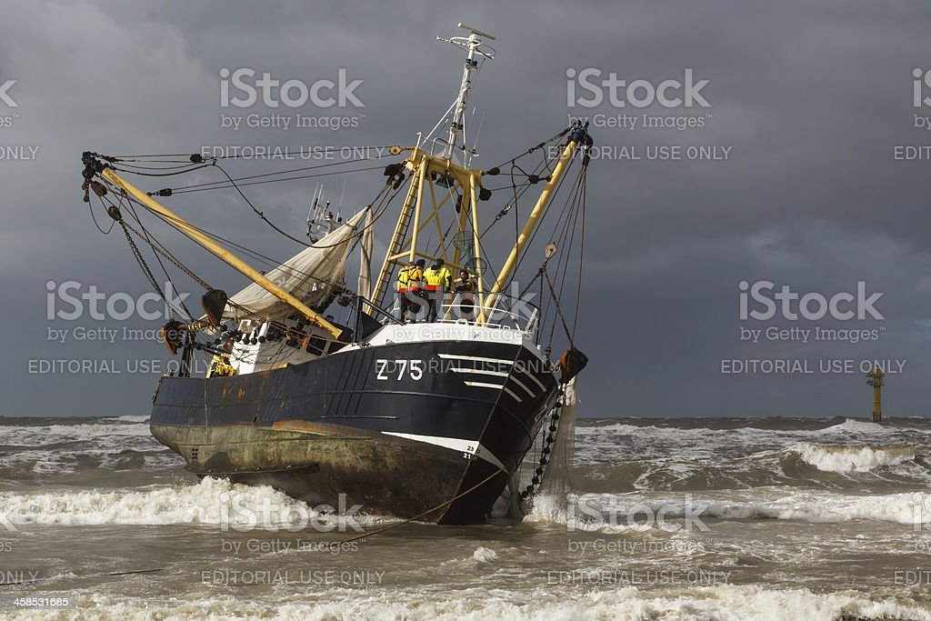Belgian stranded fishing boat royalty-free stock photo