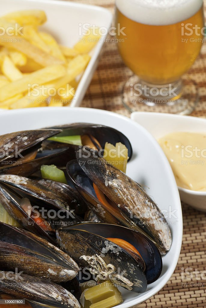 Belgian style mussels stock photo