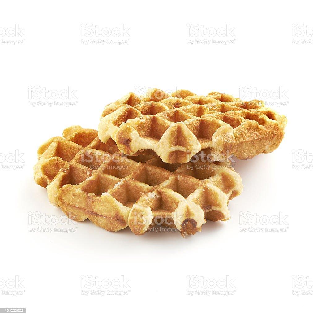 belgian sugar waffles on white background stock photo