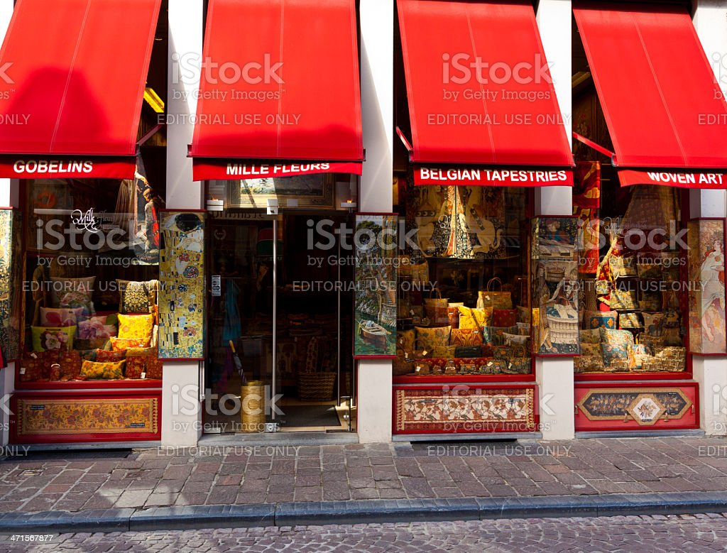 Belgian Tapestry Store in Bruges. royalty-free stock photo