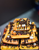 Belgian waffle topped with chocolate
