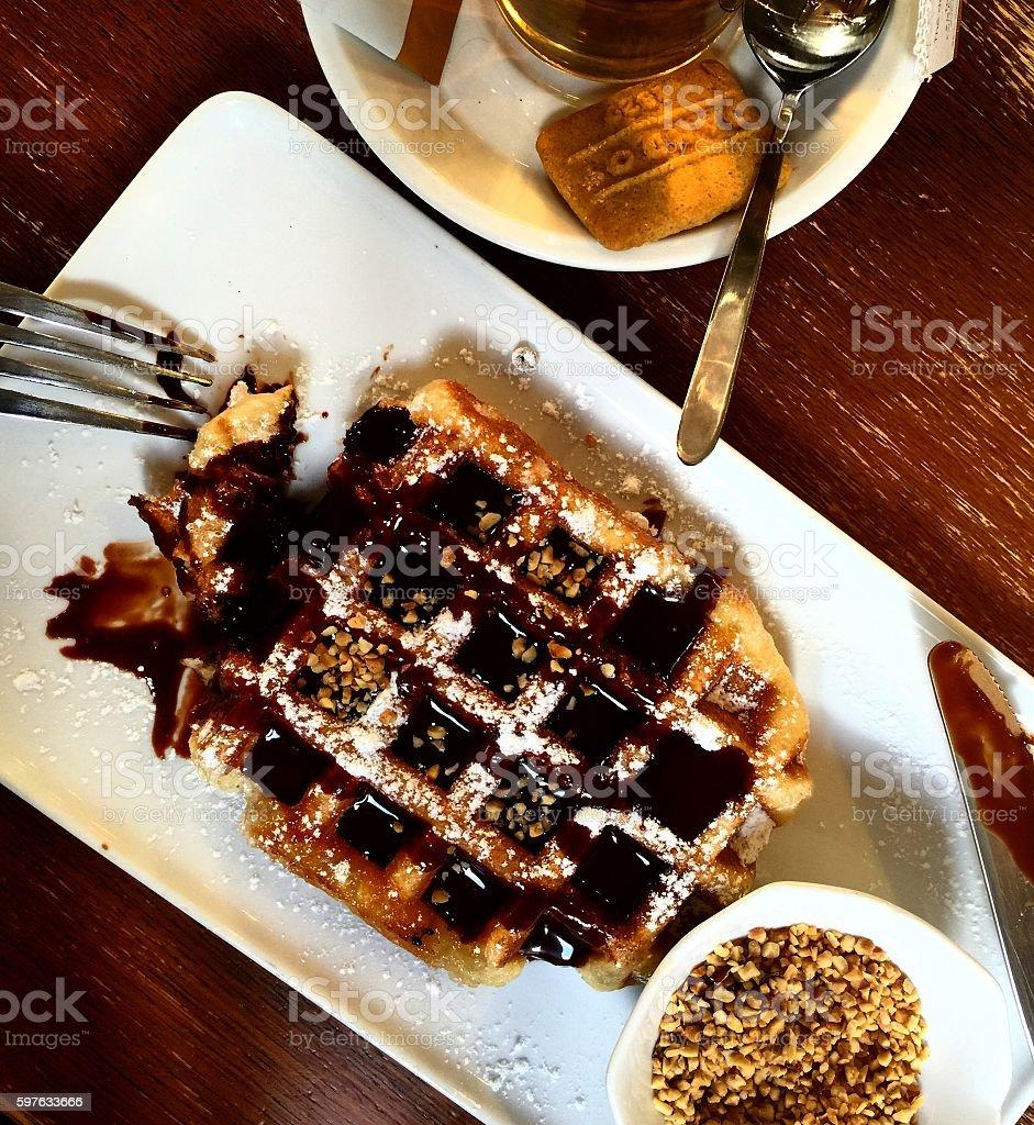 Belgian waffle with chocolate stock photo