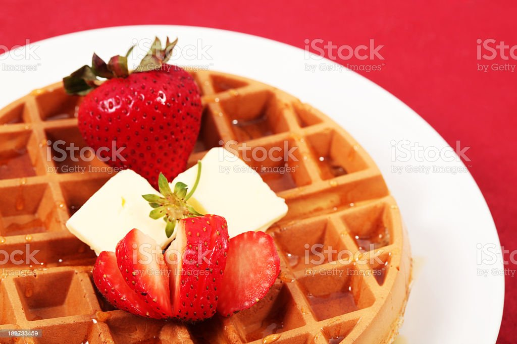 Belgian Waffle with strawberries royalty-free stock photo