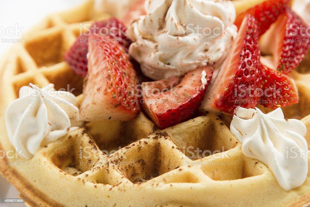 Belgian Waffle with Strawberries stock photo