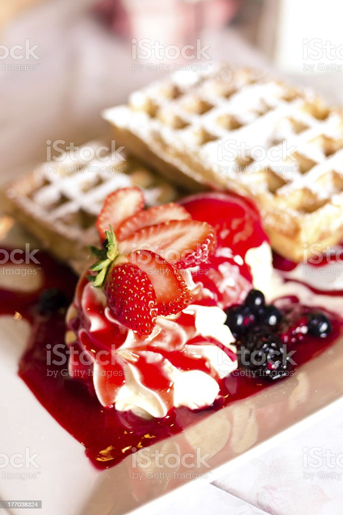 Belgian waffle with strawberry ice cream royalty-free stock photo