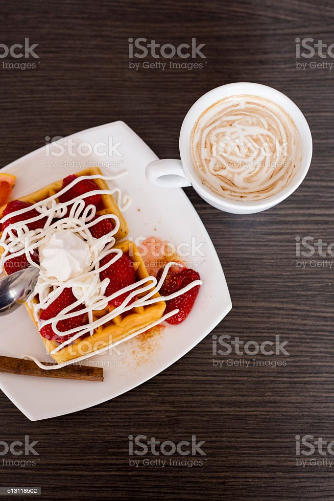 belgian waffles and coffe cup stock photo
