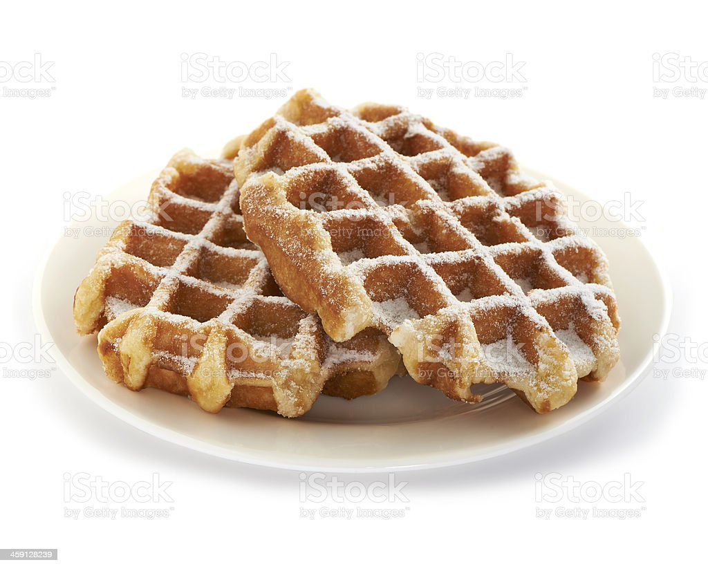 belgian waffles served on a white plate stock photo