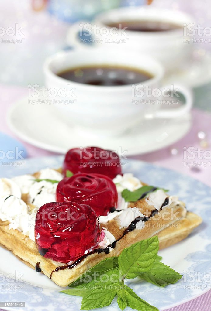 belgian waffles with fruit jelly royalty-free stock photo