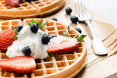 Belgian waffles with yoghurt and fruit