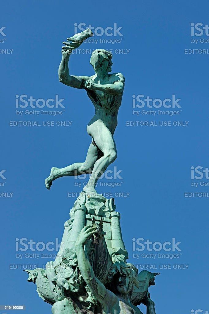 Belgium, Antwerp, March 17, 2016, Statue of Brabo stock photo