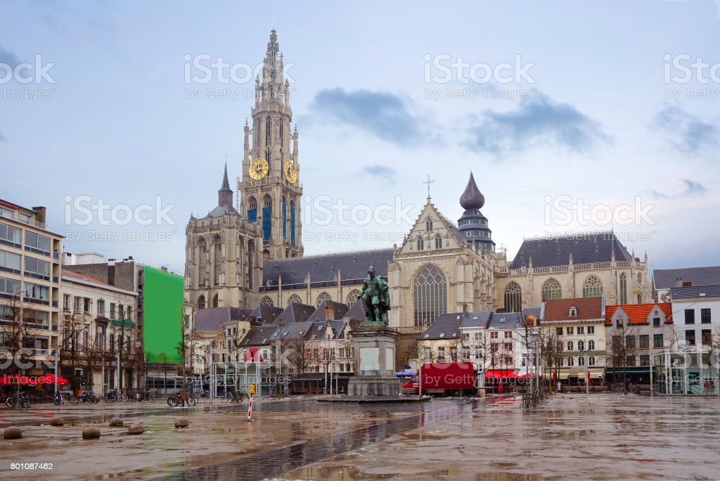Belgium. Antwerp. The Cathedral Of Our Lady. The Monument To Rubens. stock photo