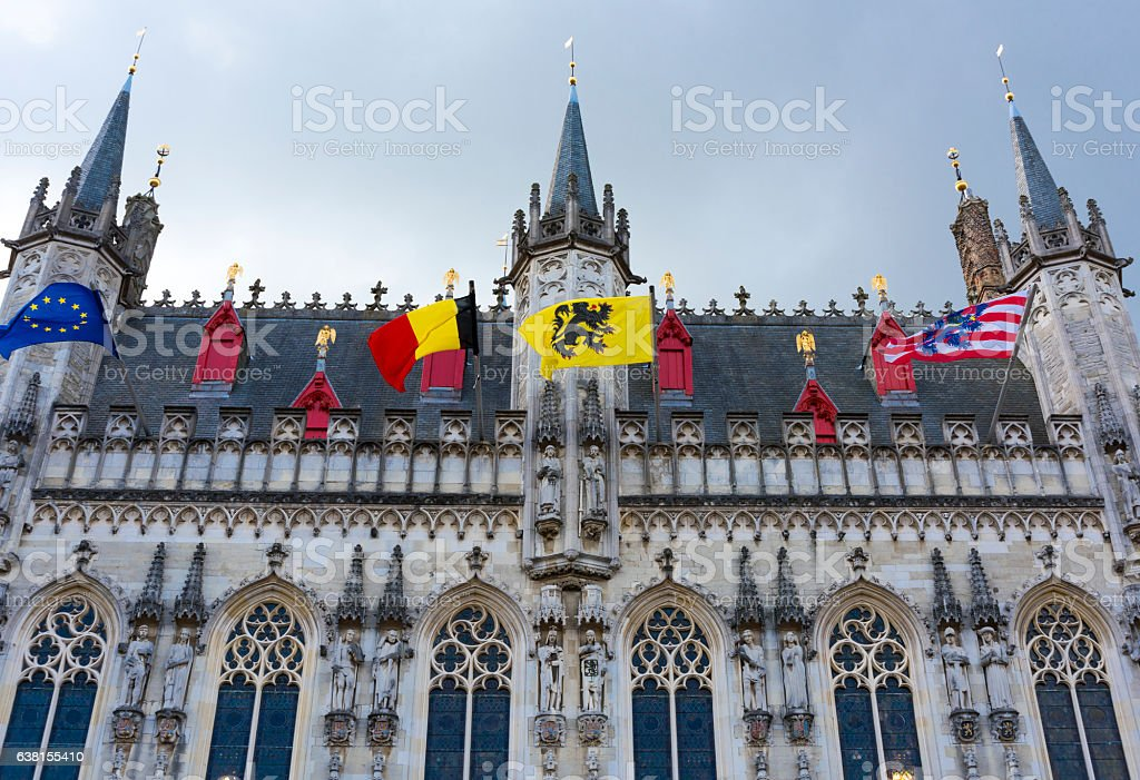 Belgium, Bruges city hall Gothic facade stock photo