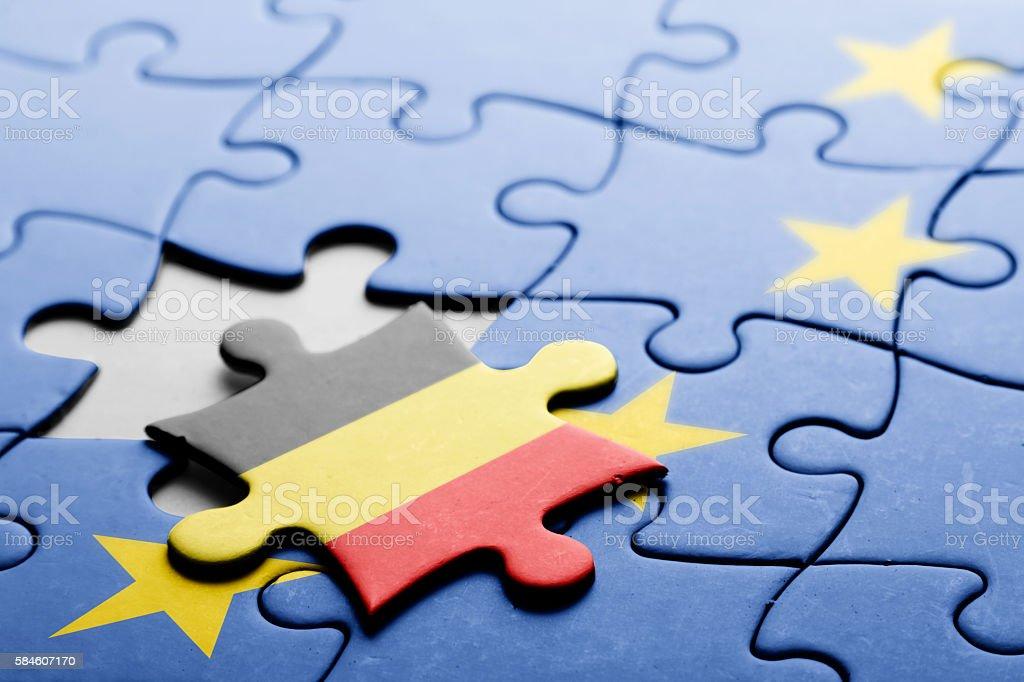 Belgium. Exit from European Union concept puzzle stock photo