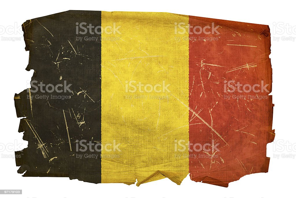 Belgium Flag old, isolated on white background. stock photo