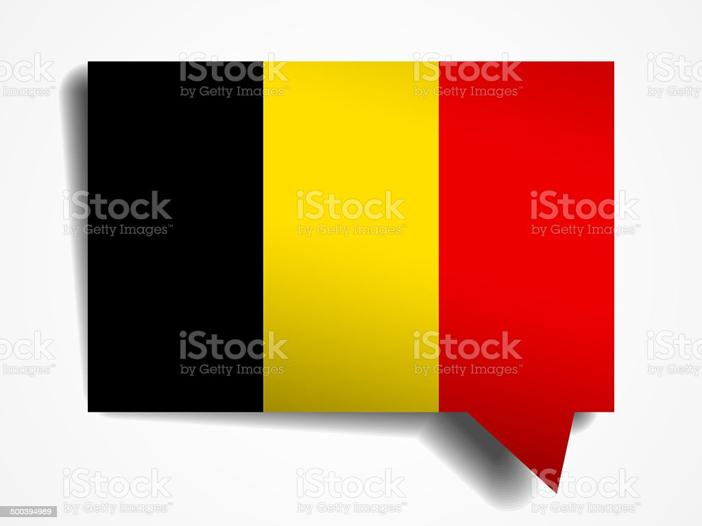 Belgium flag paper 3d realistic speech bubble on white background stock photo