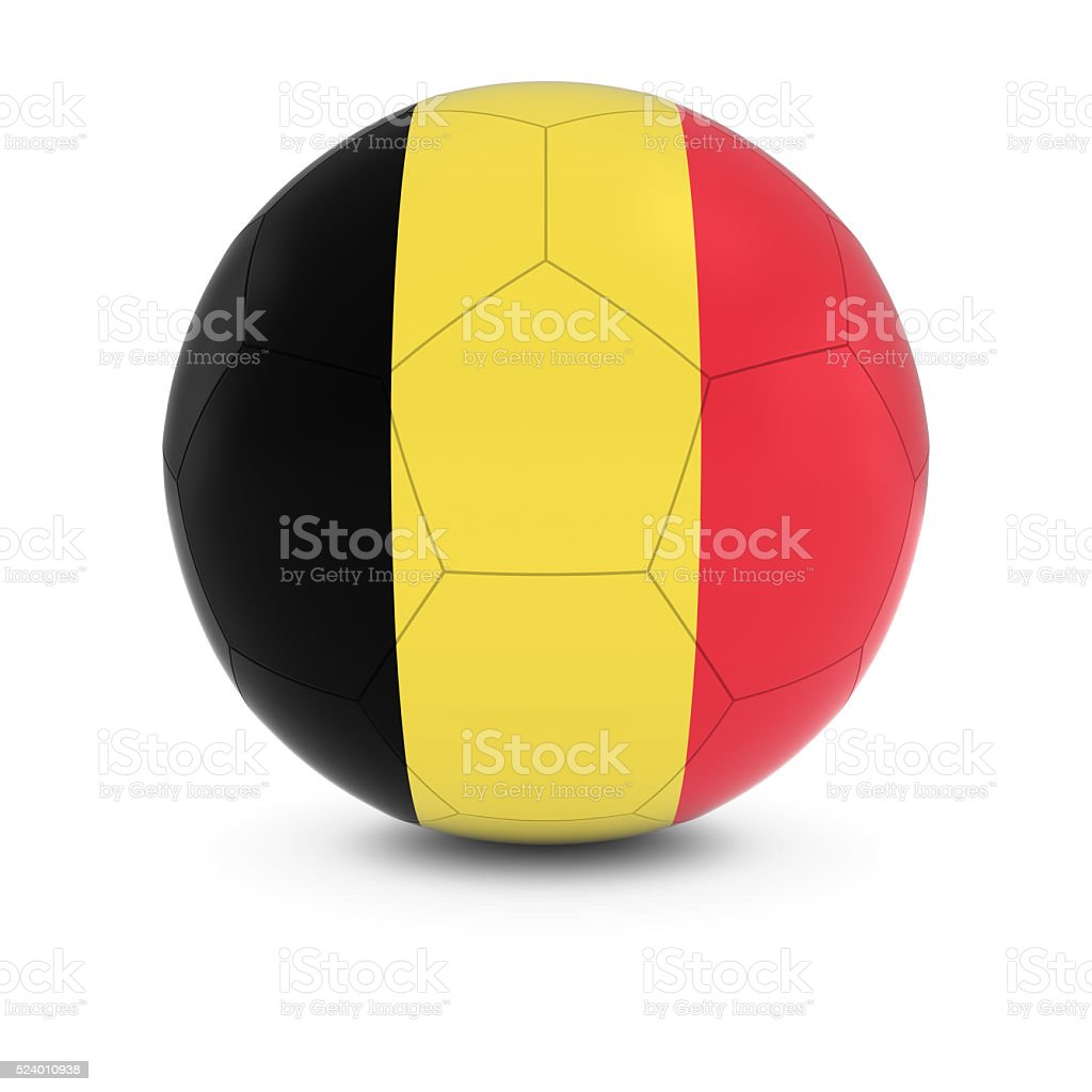 Belgium Football - Belgian Flag on Soccer Ball stock photo