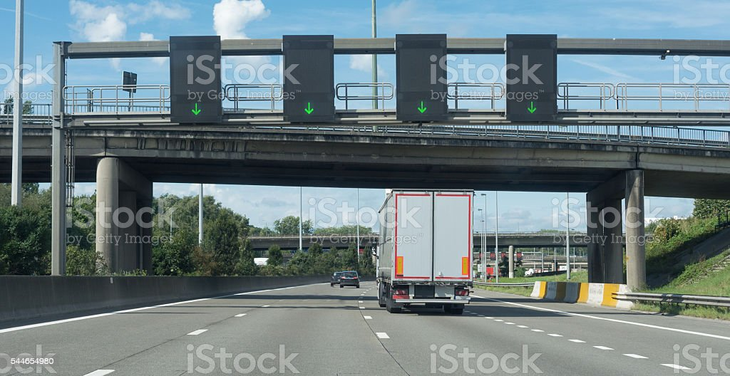 Belgium freeway with all signs green stock photo