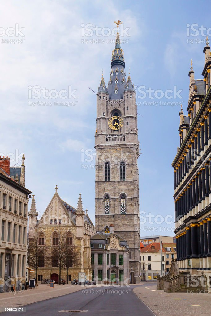 Belgium. Gent. Belfry of Ghent belfry. stock photo