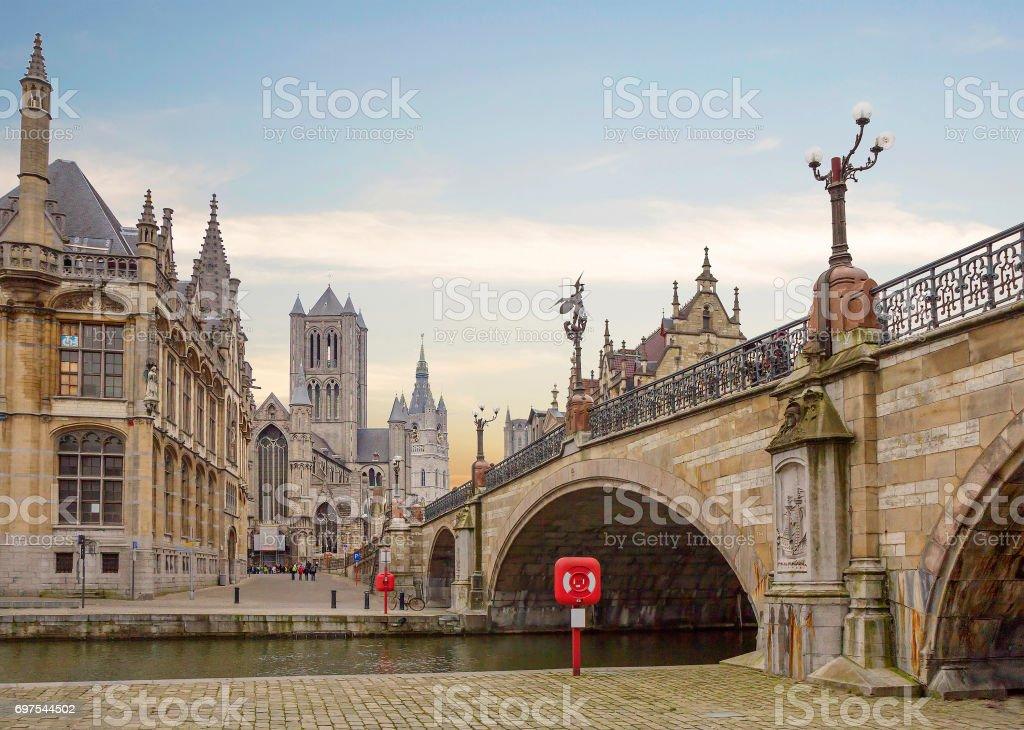 Belgium. Gent. The Bridge Of St. Michael. stock photo