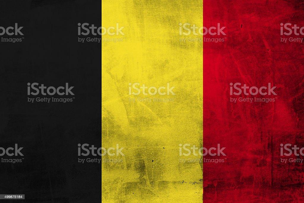 Belgium Grunge Flag on concrete wall stock photo