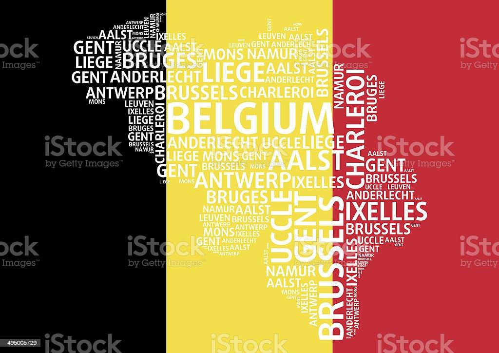 Belgium map word cloud concept with major Belgium cities royalty-free stock photo