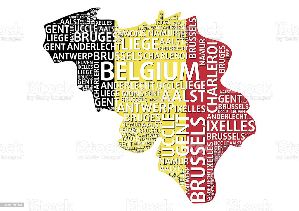 Belgium map word cloud concept with major Belgium cities royalty-free stock photo
