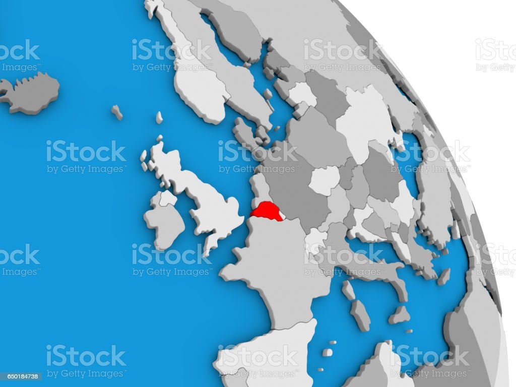Belgium on globe stock photo