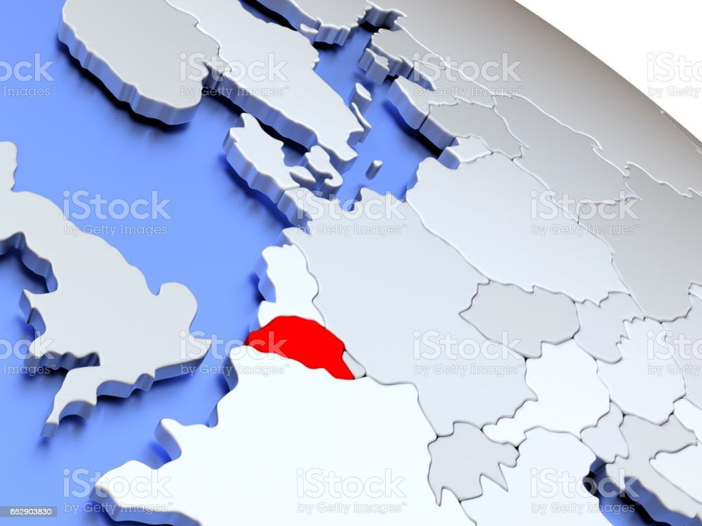 Belgium on world map stock photo