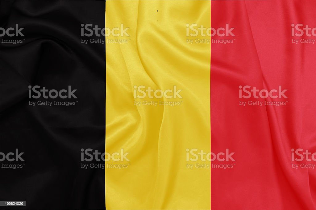 Belgium - Waving national flag on silk texture stock photo