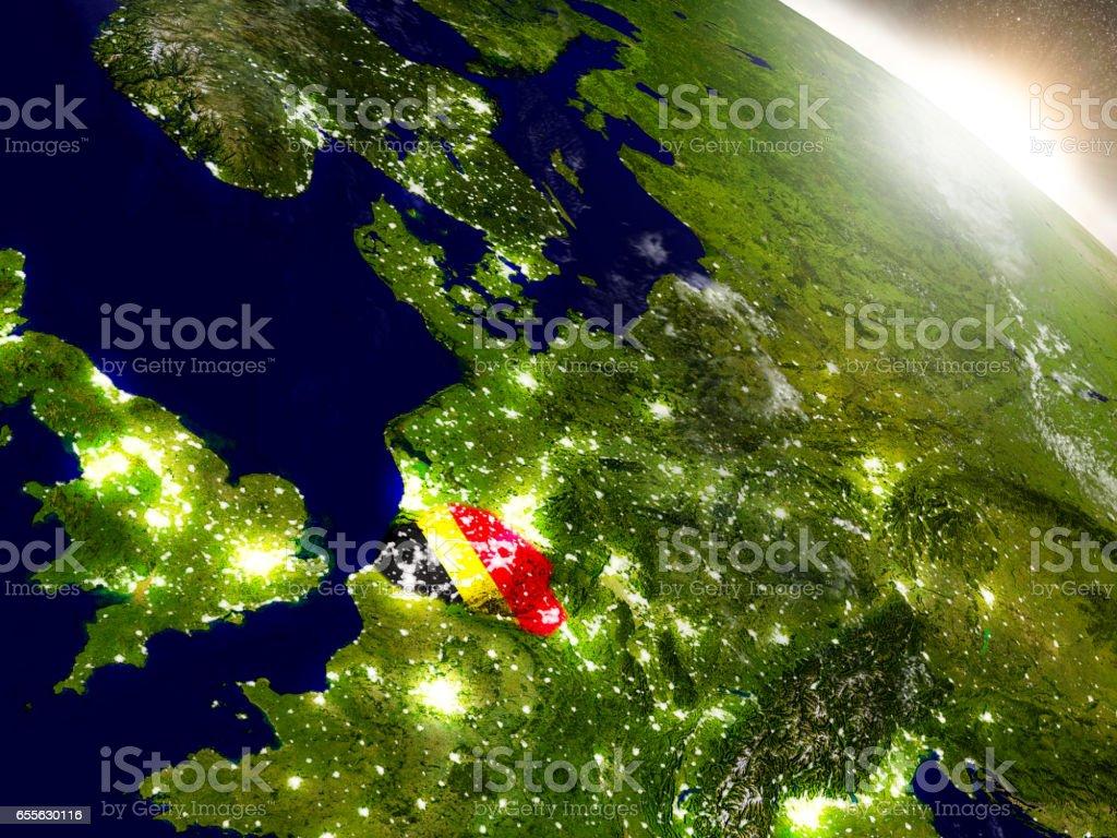 Belgium with flag in rising sun stock photo