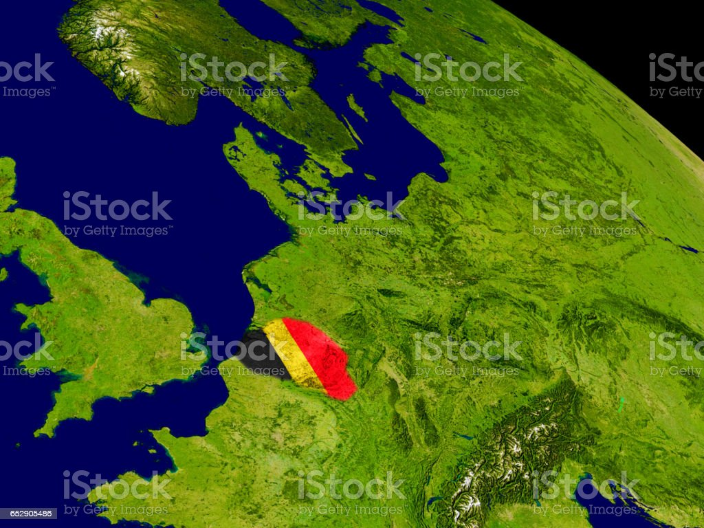 Belgium with flag on Earth stock photo