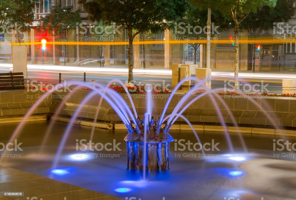 Belgrade at night, parc downtown stock photo