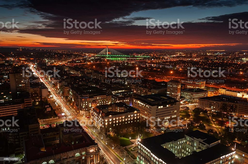 Belgrade cityscape at sunset stock photo