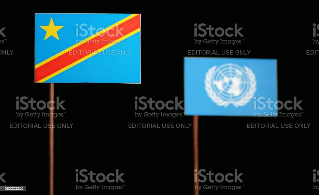 Belgrade, Serbia. May 5th 2017: The Democratic Republic of the Congo flag with United Nations flag isolated on black background stock photo