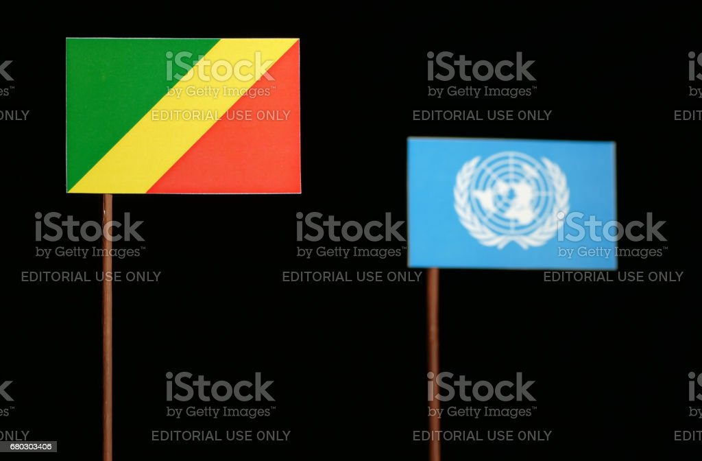 Belgrade, Serbia. May 5th 2017: The Republic of the Congo flag with United Nations flag isolated on black background stock photo