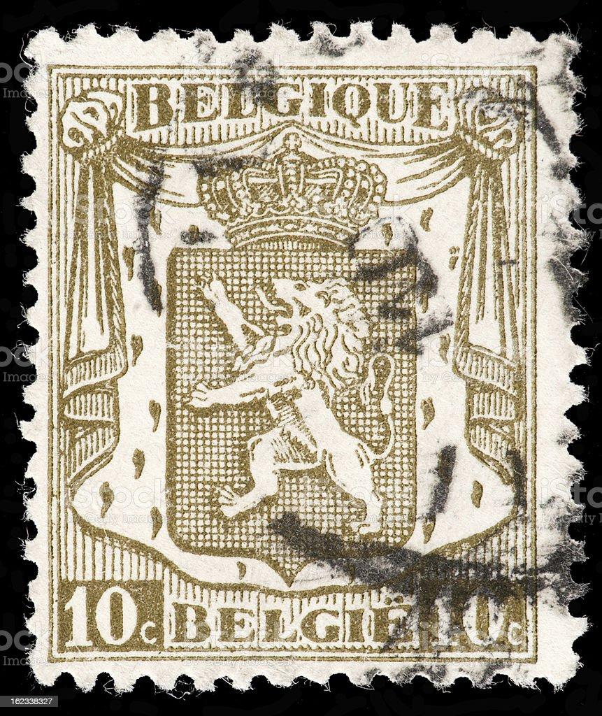 Belgum Coat of Arms (Version) Depicted Vintage Postage Stamp. stock photo