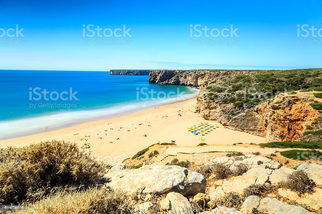 Beliche Beach next to Sagres, Saint Vincent Cape, Portugal stock photo