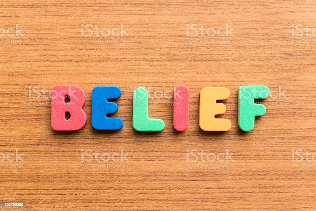 belief colorful word stock photo