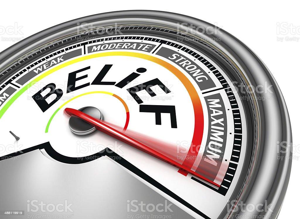 belief conceptual meter stock photo